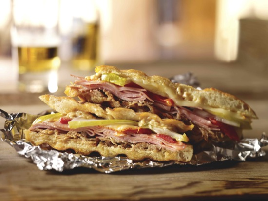 Ham and Pork Carnitas Cuban Panini Sandwich