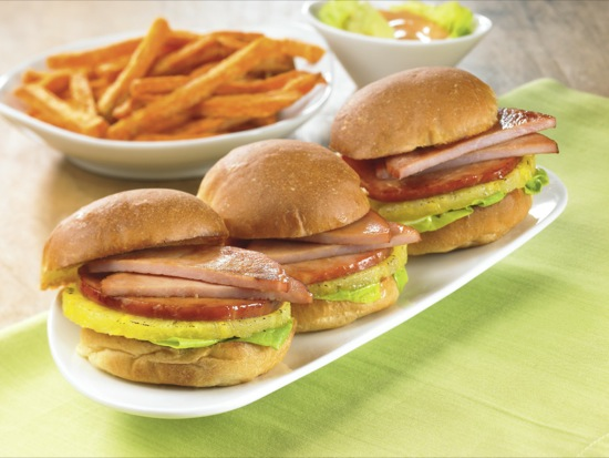 Canadian Bacon and Pineapple Sliders
