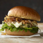 Caramelized Onion and Swiss Chicken Burger
