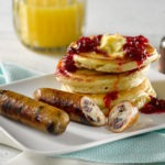 Cranberry Chicken Sausage and Pancakes