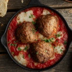 Baked Plant-Based Meatballs in Sauce Appetizer